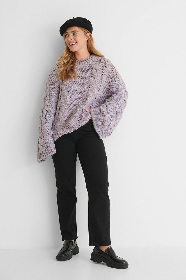 Chunky Cable Knitted Sweater Outfit.