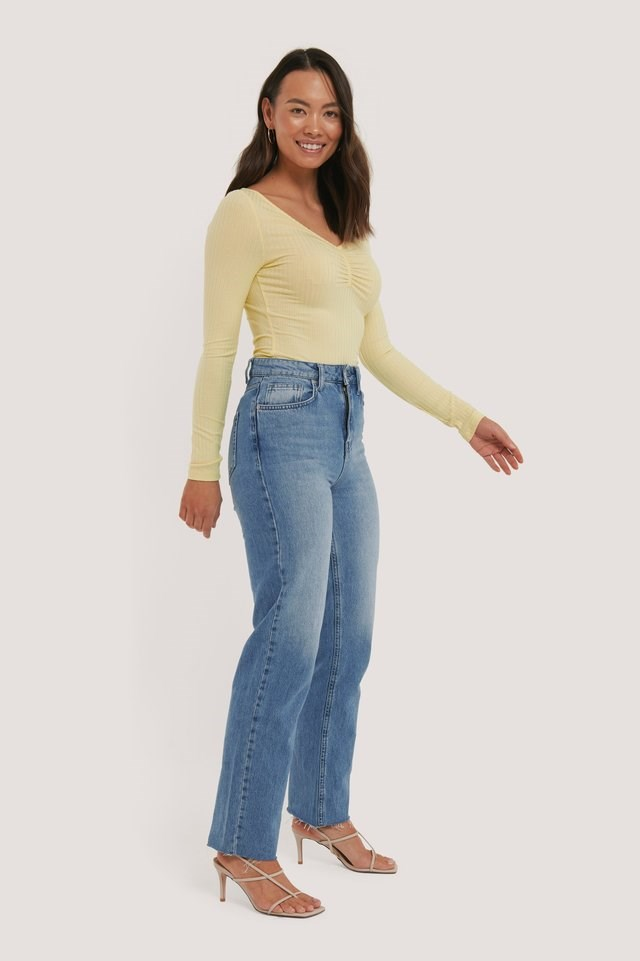 Front Ruched Ribbed Top Outfit.