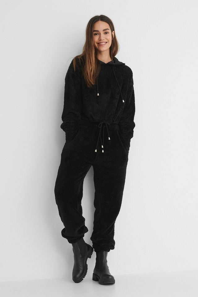 Teddy Drawstring Hoodie Outfit.