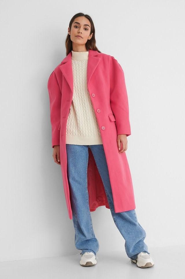 Puffy Sleeve Marked Waist Coat Pink.