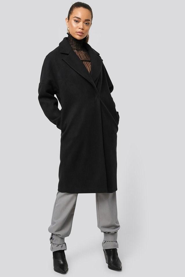 Dropped Shoulder Coat Black Outfit.