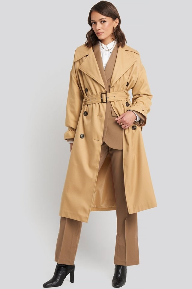 Maxi Oversized Belted Coat Beige Outfit.