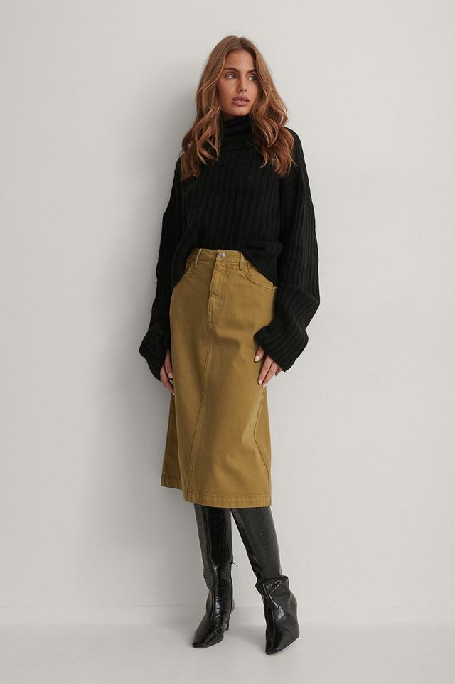 A-line Midi Denim Skirt.