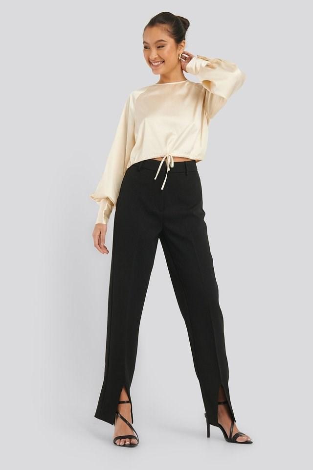 Drawstring Detail Satin Blouse Outfit.