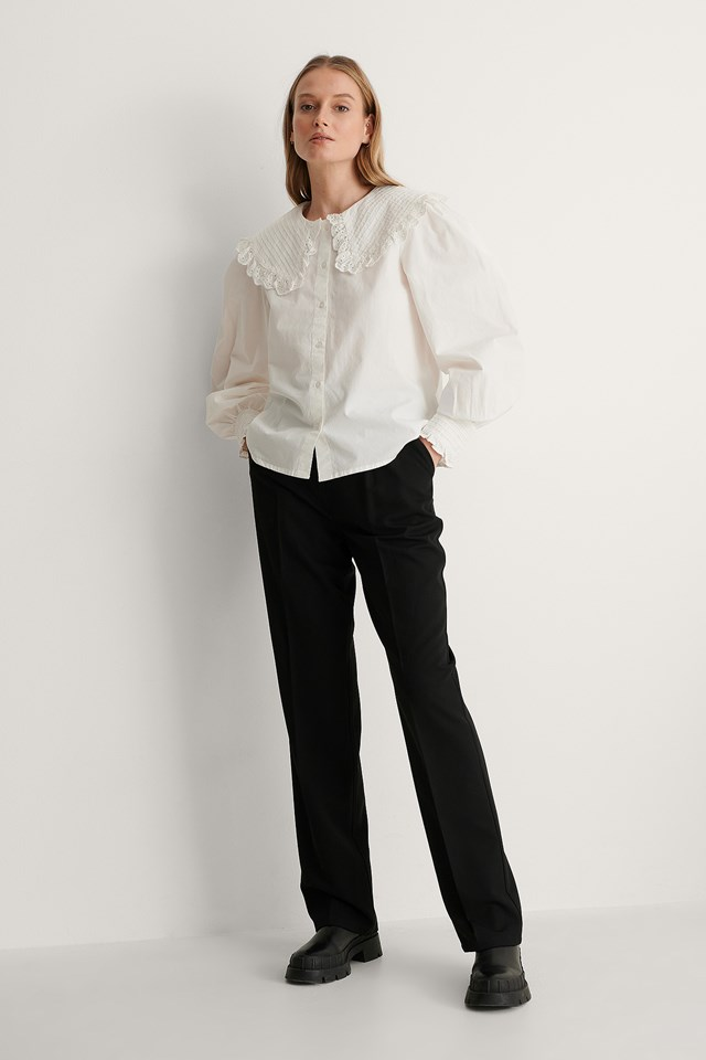 Wide Collar Cotton Anglaise Blouse Outfit.