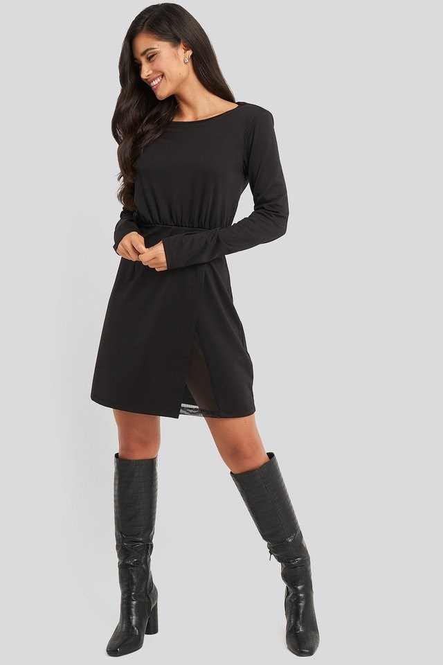 Overlap Padded Shoulder Mini Dress Outfit.