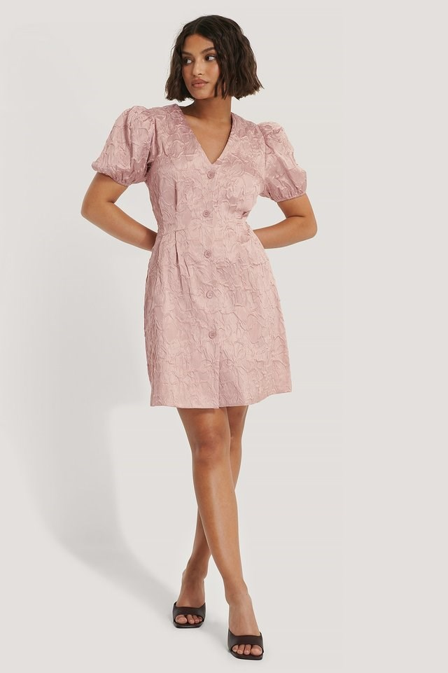 Structured Puff Sleeve Mini Dress Outfit.