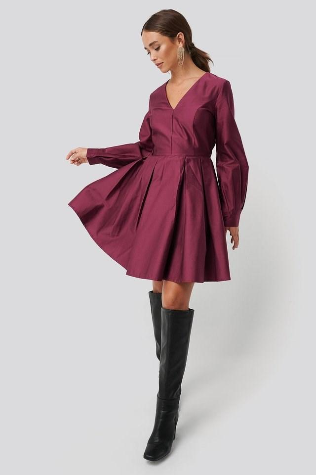 Box Pleat Mini Dress Outfit.