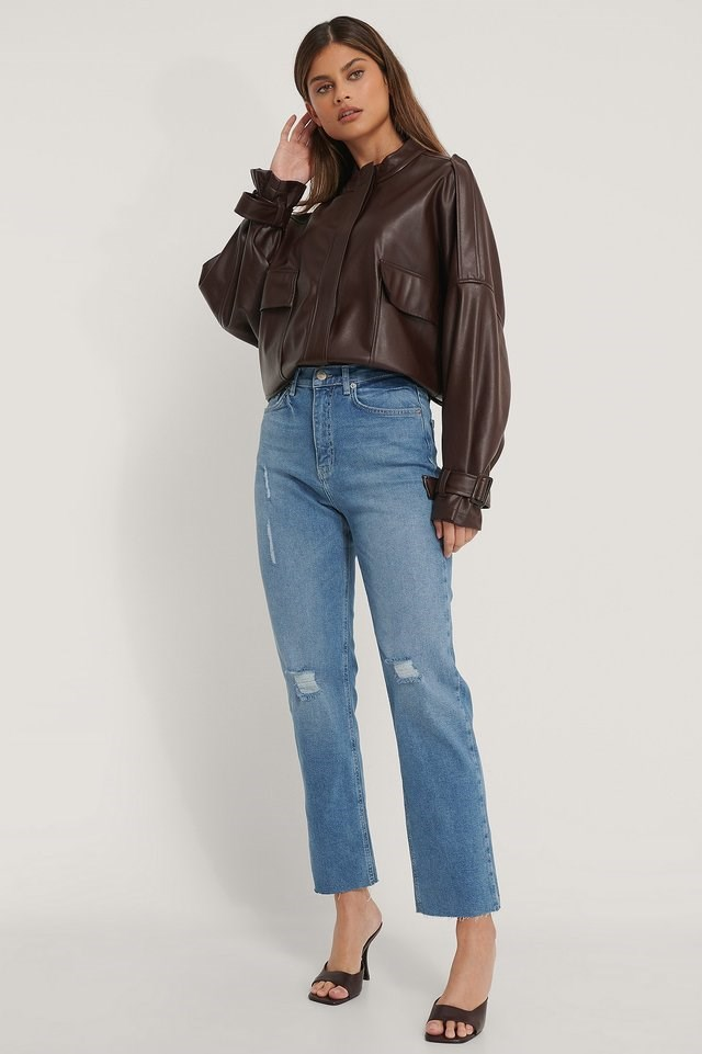 Organic High Waist Straight Destroyed Jeans Blue Outfit.