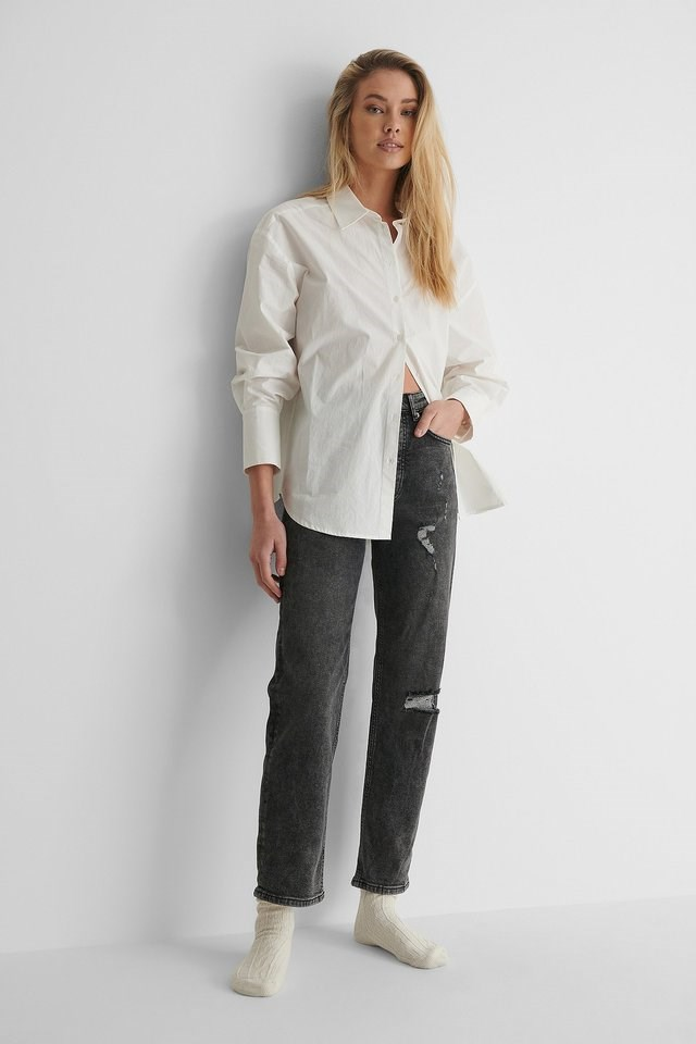 Grey Organic Straight High Waist Destroyed Jeans
