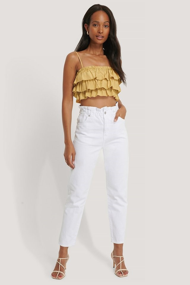 Paperwaist Jeans White Outfit.