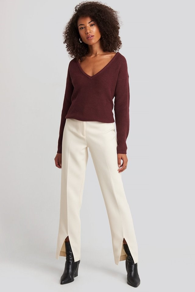 Deep Front V-neck Knitted Sweater Outfit.