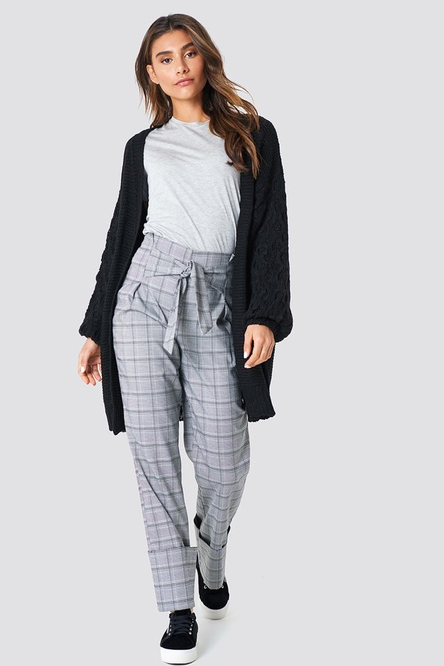Knitted Cardigan & Checkere Trousers Outfit