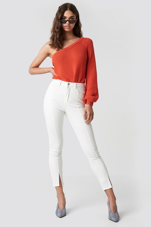 One Shoulder Balloon Sleeve Sweater