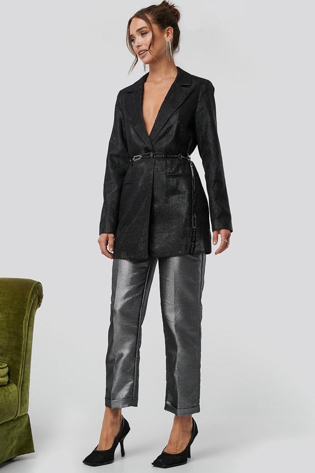 Glittery Long Blazer Outfit.