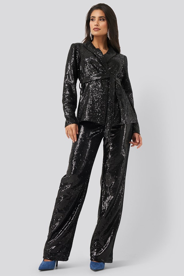 Sequin Belted Blazer Outfit.