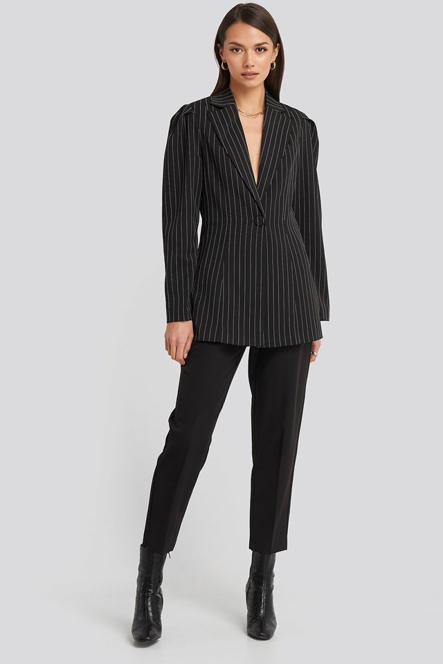 Pinstriped Puff Shoulder Blazer Outfit.
