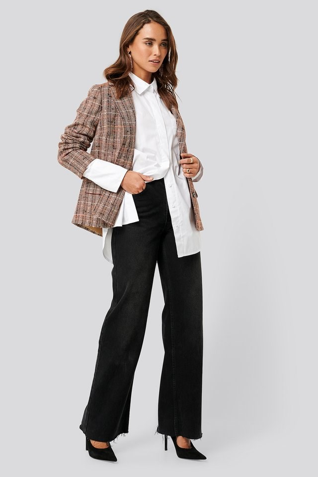 Straight Fit Checked Blazer Outfit.
