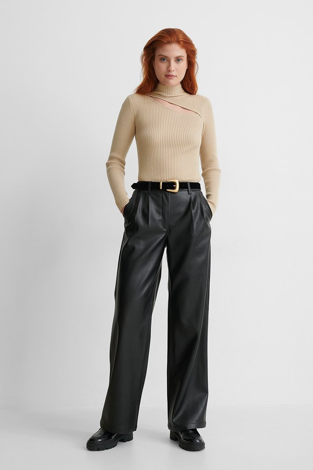 Cut Out Ribbed Knitted Sweater Outfit.