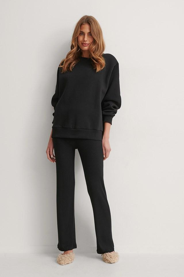 Shoulder Pad Sweatshirt Outfit.