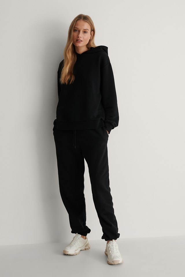 Black Oversized Relaxed Hoodie