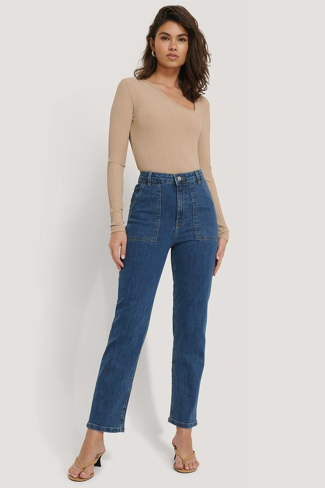 Big Pocket Straight Jeans Blue Outfit.