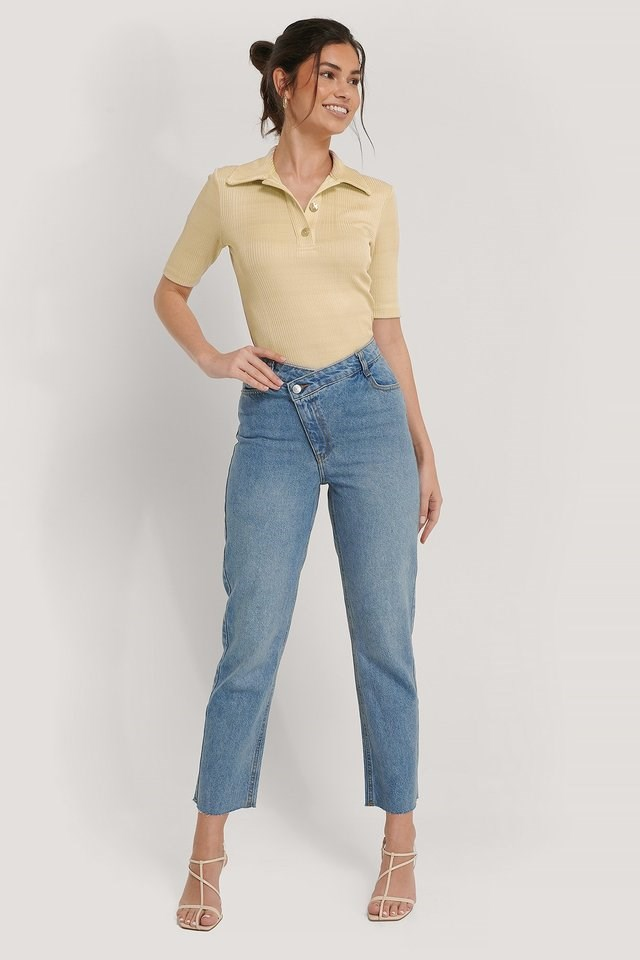 High Waist Asymmetric Closure Straight Jeans Blue Outfit.