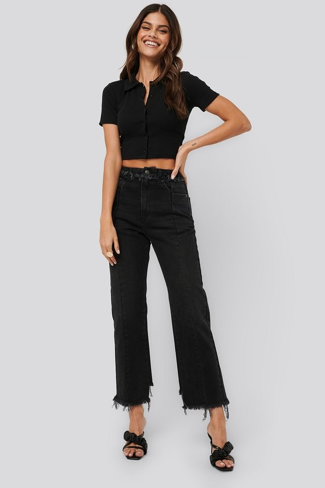 Raw Edge Straight Jeans Black Outfit.