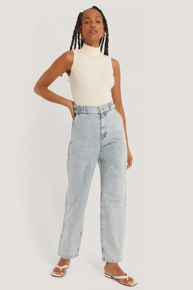 Organic Loose Fit Buckle Detail Jeans Blue Outfit.