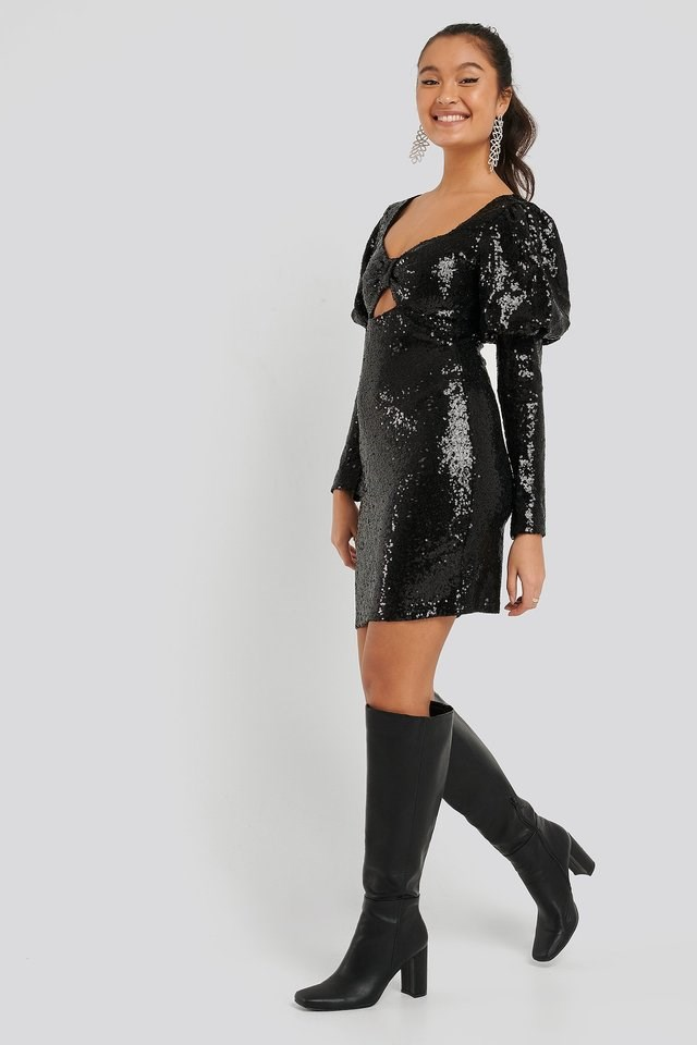 Mini Sequined Dress Outfit.