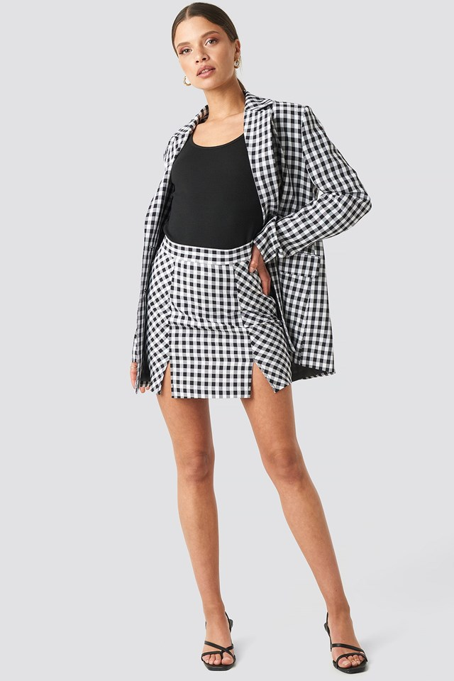 Gingham Double Breasted Blazer Outfit.