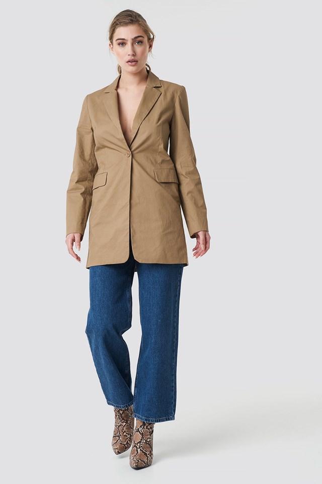 Long Padded Shoulder Blazer Outfit.