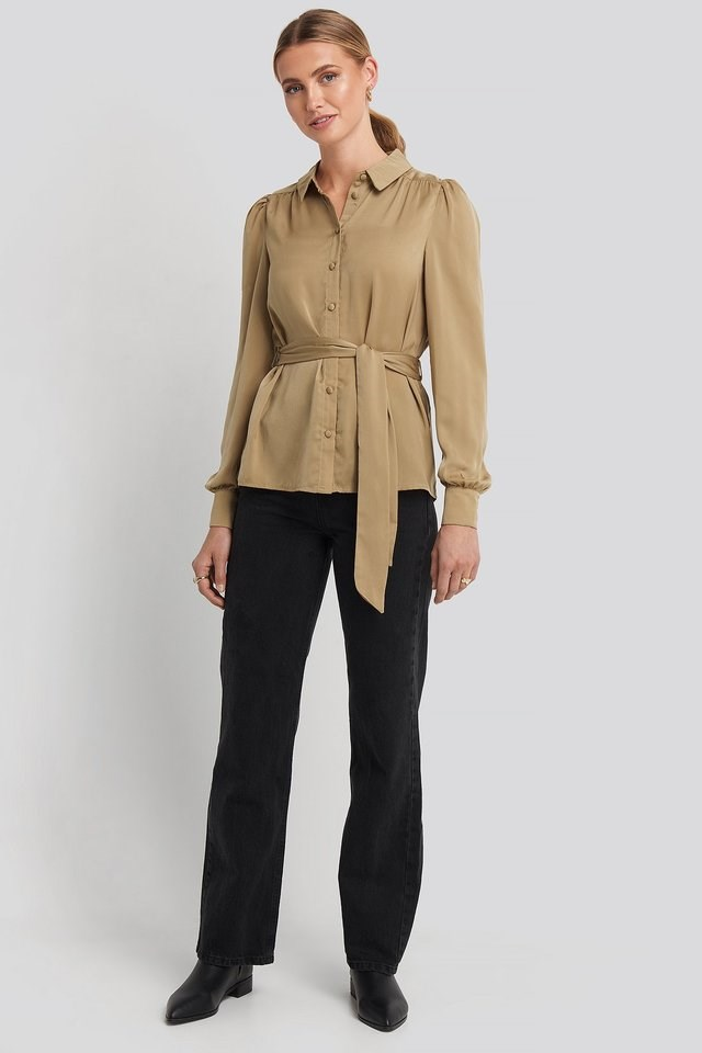 Satin Waistband Blouse Outfit.