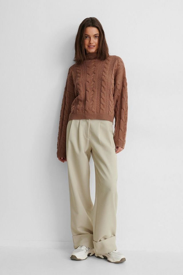 All Over Cable Knitted Sweater Outfit.