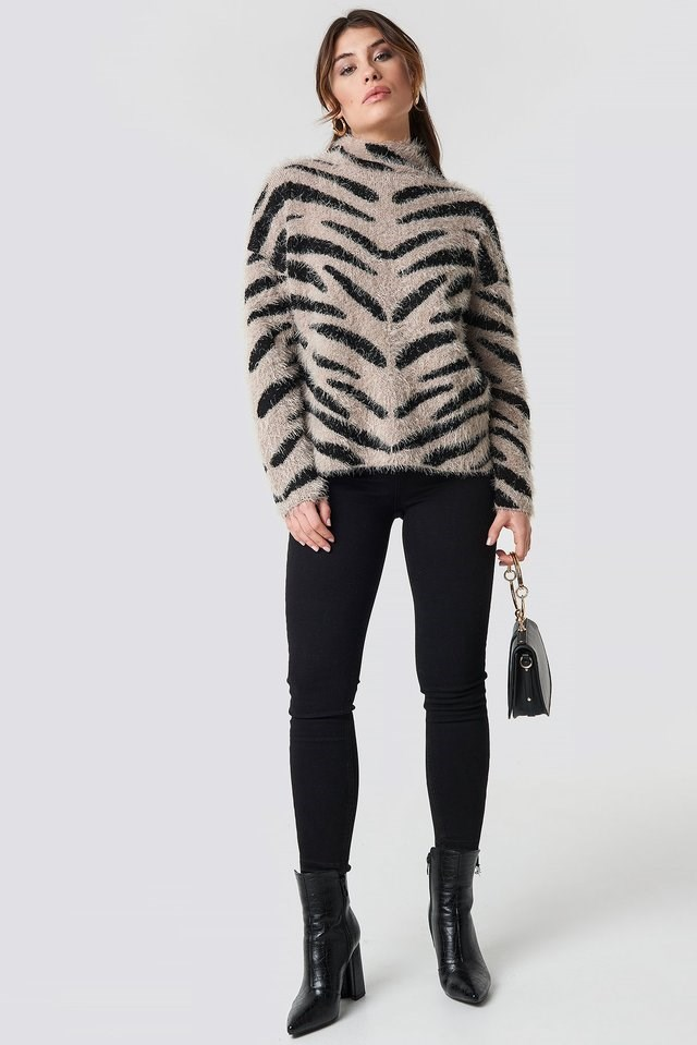 Hairy Zebra Knitted Sweater Outfit.