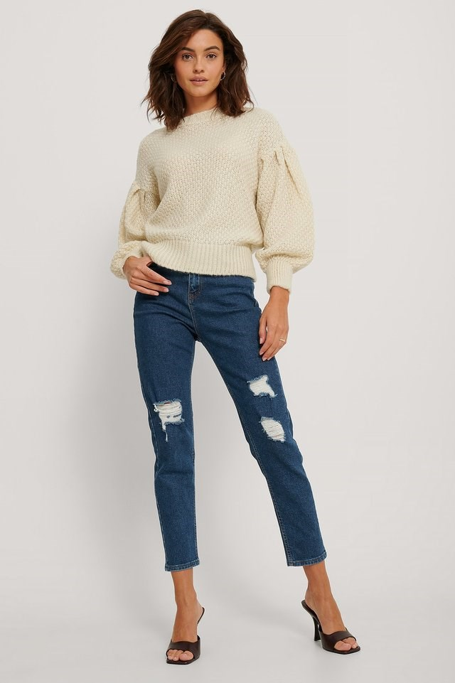 Destroyed Slim High Waist Jeans Blue Outfit.