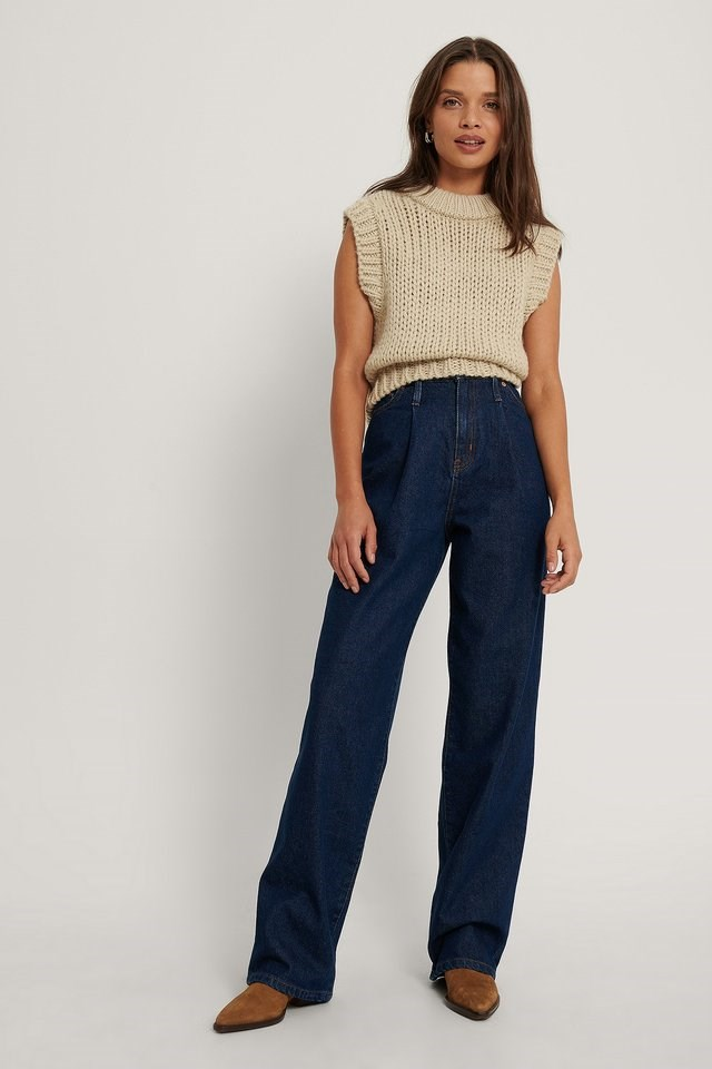 Front Pleat Wide Leg Denim Blue Outfit.