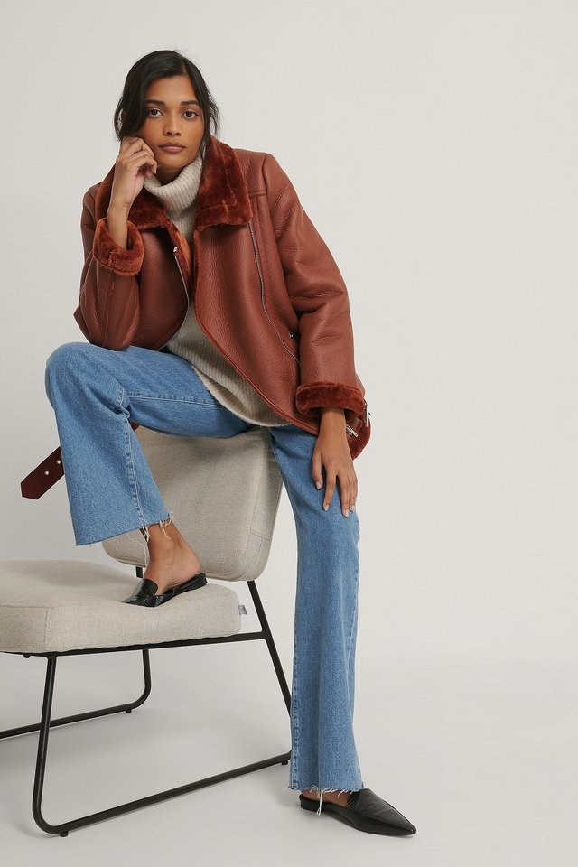 Bonded Aviator Jacket Red Outfit.