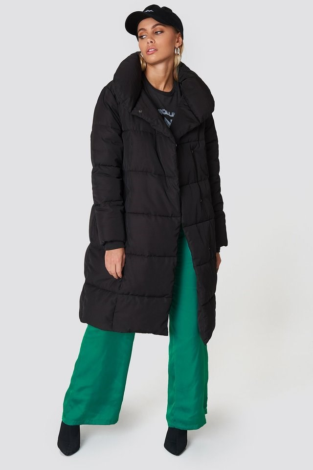 Shawl Collar Padded Jacket Black Outfit.