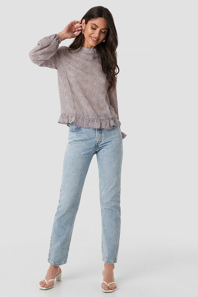 High Neck Flounce Blouse Outfit.