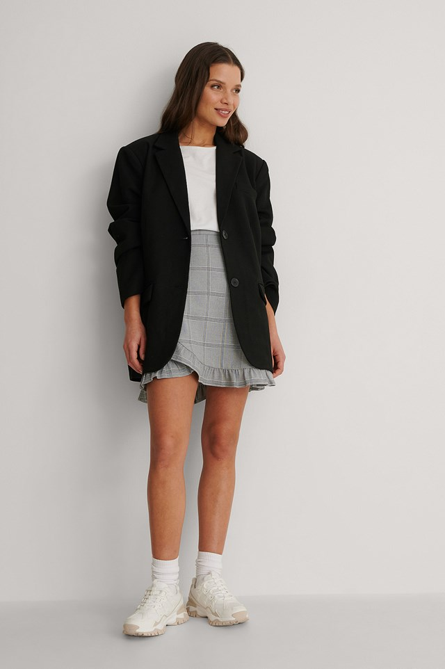 Checkered Wrap Mini Skirt Outfit.