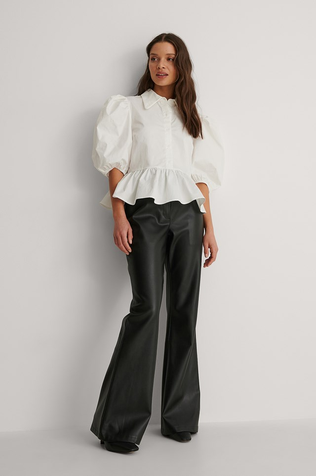 Pointy Collar Puff Sleeve Top Outfit.