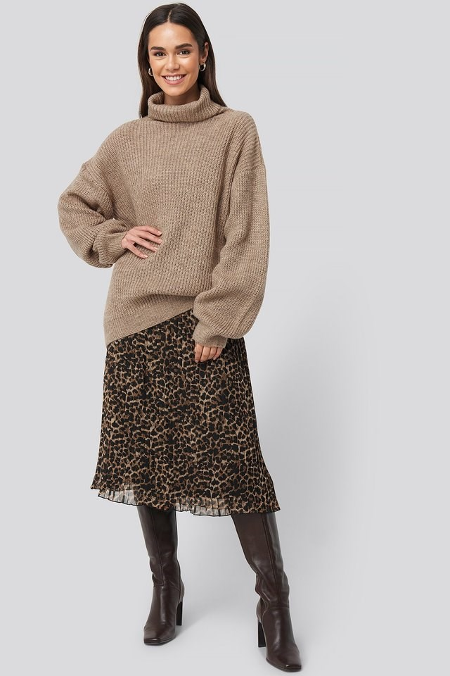 Knitted Turtle Neck Sweater Outfit.