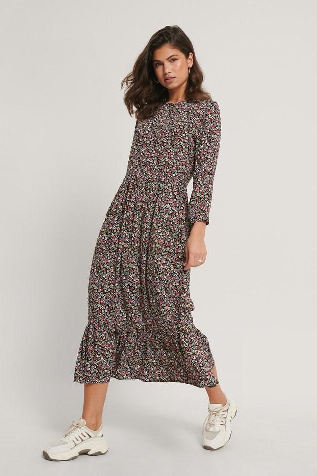 Ruffle Hem Round Neck Midi Dress Outfit.