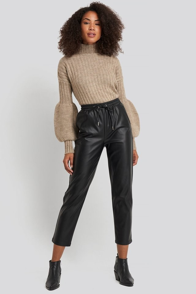High Neck Puff Sleeve Knitted Sweater Outfit.