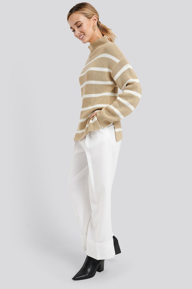 High Neck Striped Knitted Sweater Outfit.