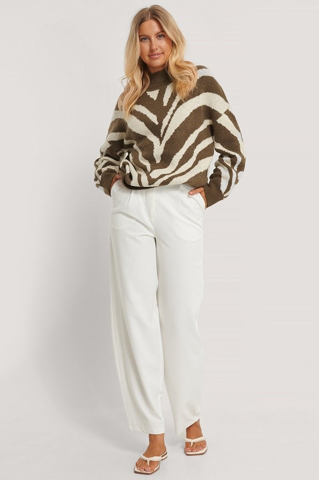 High Neck Zebra Knitted Sweater Outfit.