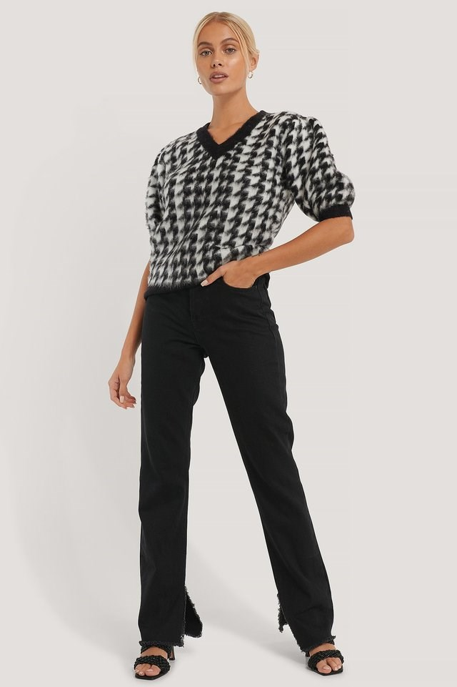 Houndstooth Short Balloon Sleeve Sweater Outfit.