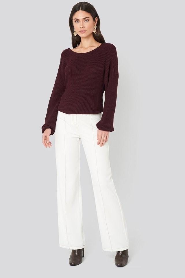 Contrast Seam Suit Pants Outfit.