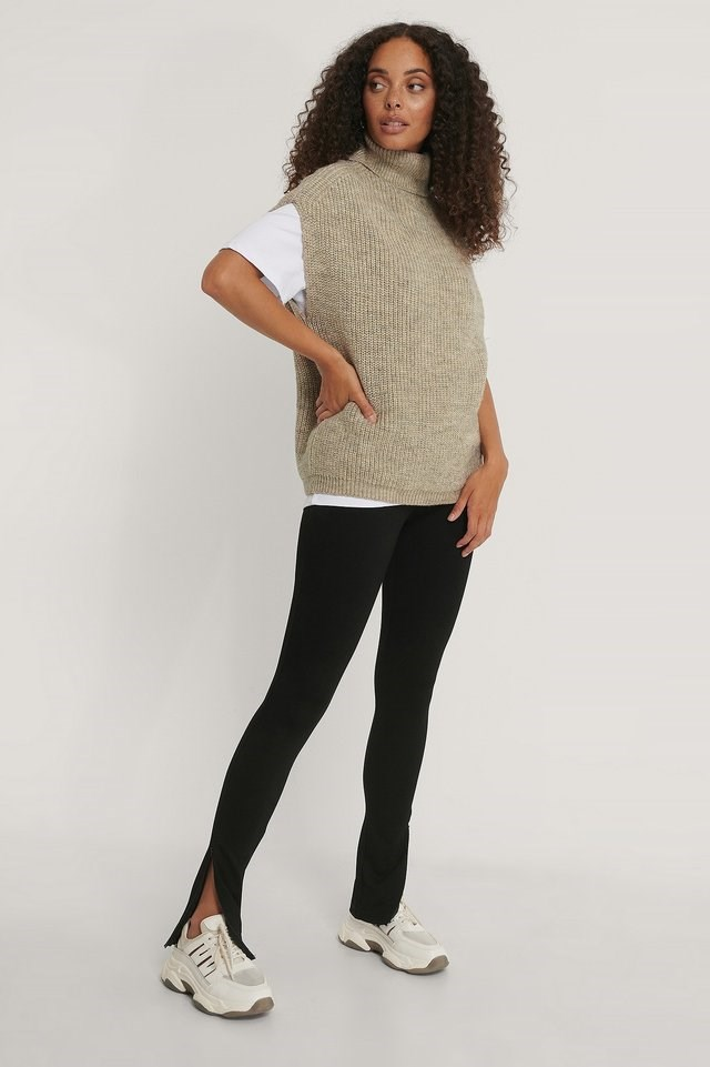 Knitted High Neck Vest Outfit.